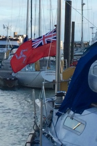 Isle of Man Red Ensign on Frank's stern.